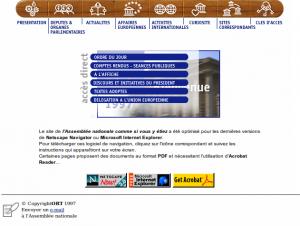 Page d'accueil, le 16 octobre 1997